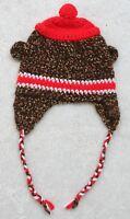 Unisex Baby Cap Beanie Boy Girl Children Kids Cotton Crochet Brown White Red Ear