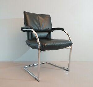 1-4 X Vitra Cantilever Figura Mario Bellini Leather Black Chrome Round 3.AWB