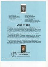US FDC 2001 Lucille Ball USPS Souvenir Page Hollywood First Day Cancelled! |