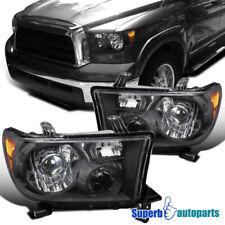 For 2008-2014 Sequoia Tundra Projector Headlights Retro Style Black LH+RH