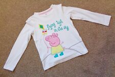 Peppa Pig M&S Girls Long Sleeve Embroidered White Top. Age: 5 - 6 Years.