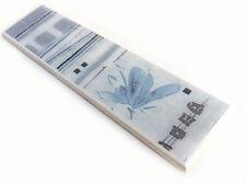 Fliesenbordüre 19,8x4,8cm Fliesen Badbordüren Badbordüre Blume FS15 grau blau T2