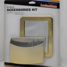 LockerMate 2 pc Accessories Kit Gold Magnetic Mirror Pen Cup School Locker
