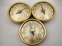 set of 3 By 70mm Diameter Barometer hygrometer thermometer  In Gold