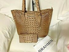 Brahmin Medium Lena Riviera Melbourne Croc Embossed Leather Tote P32 151 004