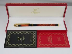 Cartier must Marble Brown Lacquer Fountain Pen M (MINT) FREE SHIPPING WORLDWIDE