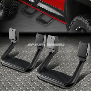 FOR FORD/CHEVY/GMC/DODGE 2X  BLACK POWDER-COATED CAST ALUMINUM SIDE STEPS/BAR