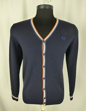 Fred Perry Mens Navy Multicolor Merino Wool V-Neck Cardigan Sweater SZ M