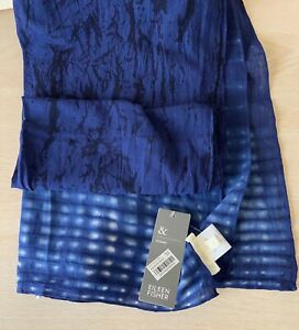 EILEEN FISHER NWT $158 BLOOMINGDALE'S BLUE SCARF - SHIBORI COTTON CRACKLE - NICE