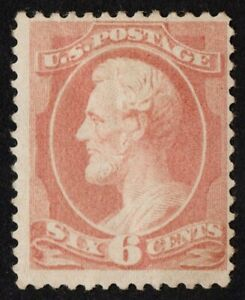 "US Sc# 208 *MINT OG H* { 6c ROSE LINCOLN } ""SCARCE BANKNOTE FROM 1882 CV$ 775.00"