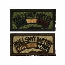 Bullshit Meter Self-Adhesive Morale Funny Slogan Gift Patch Olive and Tan 1x2in