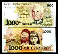 Brazil 1000 Cruzeiros Banknote World Paper Money UNC Currency Bill Note