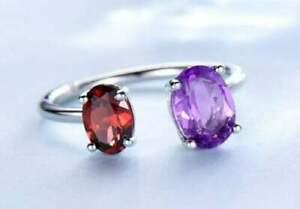 Silver Birthstone Ring Garnet Amethyst Birthstone Ring Two Birthstone Ring