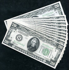 (11) Consecutive 1934 $20 Frn Federal Reserve Notes St. Louis, Mo Gem Unc