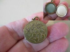 Nouveau Photo Locket Fob Charm Pendant Antique Vintage Victorian Gold Ptd Art