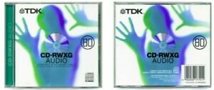 TDK CD-RW80 / CD-RWXG80EN Audio Music 80 Min CD RW RE-WRITABLE Blank Disc - NEW