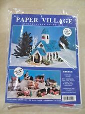 """Paper Christmas Village Church Collectable Craft Kit #422 Finishes 9"""" Tall"""