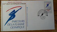 Enveloppe 1er jour exclusivité la poste 1991 parcours  la flamme olympique 2732