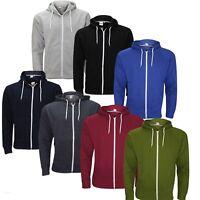New Men's Boys Plain Fleece Hoodie Zip Up Sweatshirt Jacket size UK S-2XL