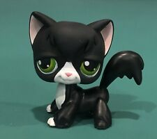 Authentic Littlest Pet Shop Black And White Tuxedo Cat #55 Lps Green Eyes Angora
