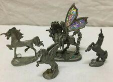 Lot of (4) Pewter Mythical Figurines - 3 Unicorn & 1 Pegasus