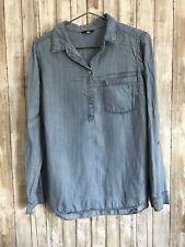 STACCATO Blue Chambray Denim 1/4 Button Down Shirt M Medium * RARE!