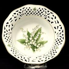 Schumann Arzberg Reticulated Pierced Bowl Lilly of the Valley Gold Trim 8 Inches