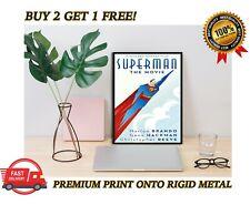 Película de Superman Art Deco Clásico Premium cartel impresión Placa de Metal Regalo