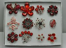 A-55  WHOLESALE LOT 12 PCS RED COLLECTION CHIC COCKTAIL COSTUME JEWELRY RINGS