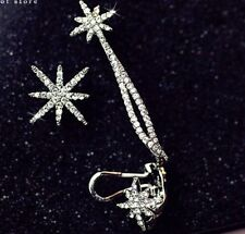Party Wear Wedding Gift for Dress Dinner Sale Silver Stars Earring and Ear Cuff