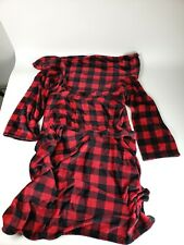 Red Plaid Fleece Wearable Blanket with Sleeves for Women Men, Super Soft Warm