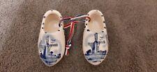 Miniature Dutch Clog Shoes Windmill Blue White Ceramic