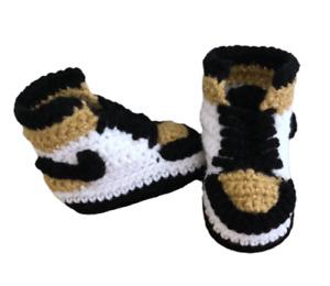 Gold Shoes Baby Sneaker J Basketball Air Retro Crochet Black White Boy Girl