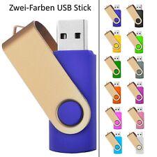 Zweifarbiger USB STICK SWIVEL Blau mit Gold Bügel plus zweite Farbe dazu