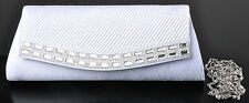 White Satin Shiny Diamante Bridal Wedding Prom Clutch /Hand Bag - LY934-White