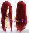 New Long Dark RED Cosplay Straight women's hair full Wig/Wigs + Free wig cap