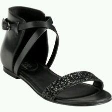 NIB Maria Sharapova Cole Haan Air Catalina Sandal Flat Leather Black Glitter 8