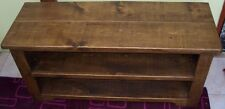 SOLID WOODEN TV STAND CABINET ENTERTAINMENT DVD UNIT RUSTIC PLANK PINE FURNITURE