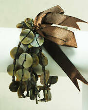 Pearl Topaz Glass Bead Stretch Bracelet Vintage Style 5 Strand Mocha Mother of