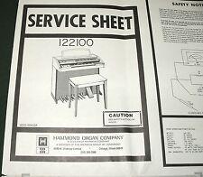 """HAMMOND Organ 122100 Series Service Large 34"""" x 22"""" Sheet w-Schematics, Layouts"""