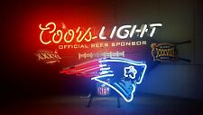 New England Patriots Coors light Neon Bar Mancave Garage Sign Beer Advertising