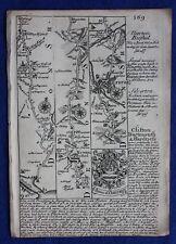 ORIGINALE ANTICO ROAD MAP Devonshire, Somerset, Dartmouth, E. Bowen, c.1724