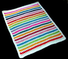 CLEARANCE - Handmade Crochet Granny Stitch Style Striped Baby Blanket