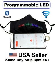 LED Programmable Face Mask USB Rechargeable Fiber Optic Glowing Led Light UP