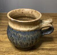 Folk Art Pottery Mug ~ Gray, Blue, Tan ~ Made In January 1994