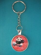 Panda Keyring Metal & Glass Handmade Bag Charm Key Ring Chain Pink