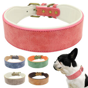 Leather Dog Wide Collar Soft Padded for Medium Large Dogs 5 Colours L-XL Bulldog