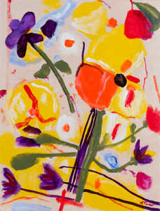 Flowers Original Oil Painting on Canvas Abstract Expressionist Art Neal Turner