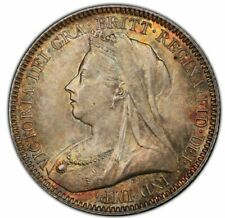 Great Britain Victoria 6 Pence 1893 PCGS MS66 Beautiful Golden Toning !