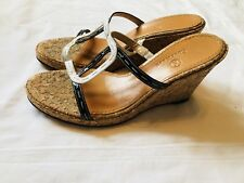 COLE HAAN Wedge SANDALS Womens size 8.5 B Black White Patent Cork Heel Shoes